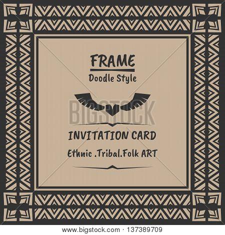 Doodle tribal ethnic style frame .Bohemian Invitation card. folk banner.