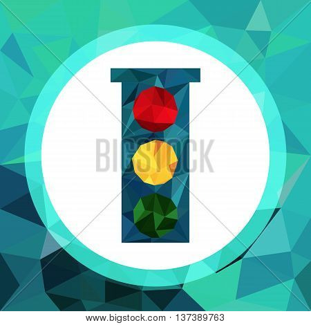 Geometrical style vector icon of traffic lights. Traffic lights made with triangles