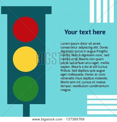 Vector image of traffic light on blue background with place for your text.