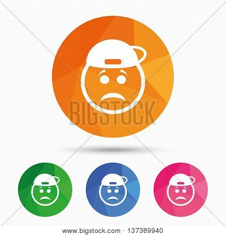 Sad rapper face sign icon. Sadness depression chat symbol. Triangular low poly button with flat icon. Vector