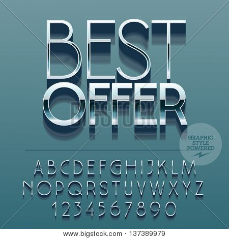 Set of slim reflective alphabet letters, numbers and punctuation symbols. Vector glance promotion banner with text Best offer. File contains graphic styles