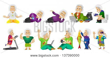 Set of illustrations with old man meditating, using laptop, relaxing, running on treadmill, showing muscles, playing video game, fishing, taking photo.Vector illustration isolated on white background.