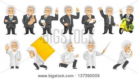 Set of illustrations with old man wearing business suit and medical gown, holding tablet computer, pointer, driving scooter, waving, delivering parcel. Vector illustration isolated on white background