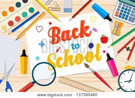 Welcome Back to school template with office supplies on desktop. vector illustration in flat design