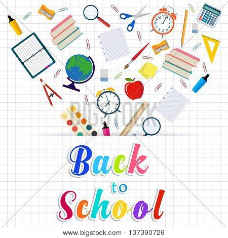 Back to school background with supplies tools. vector illustration in flat design