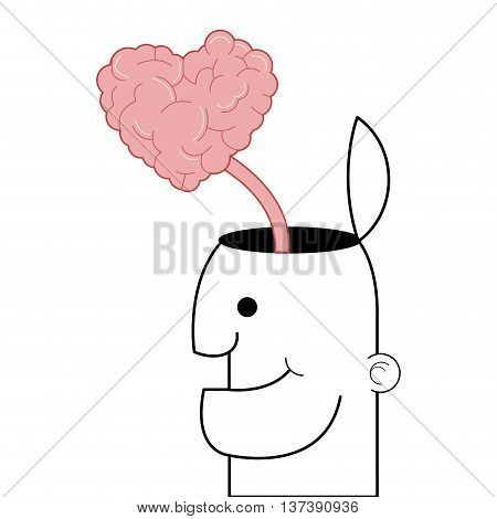 simple flat design person with open head and heart shaped brain coming out icon vector illustration