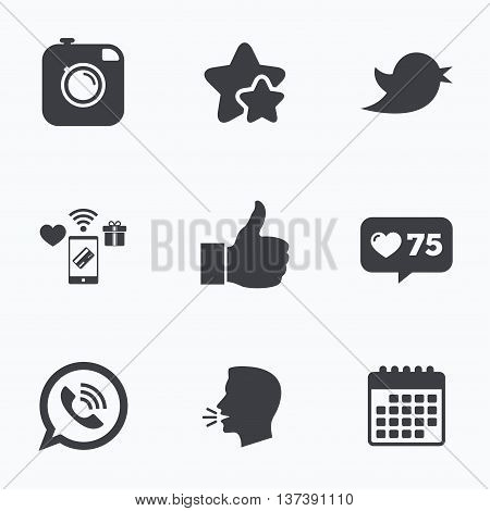 Hipster photo camera icon. Like and Call speech bubble sign. Bird symbol. Social media icons. Flat talking head, calendar icons. Stars, like counter icons. Vector