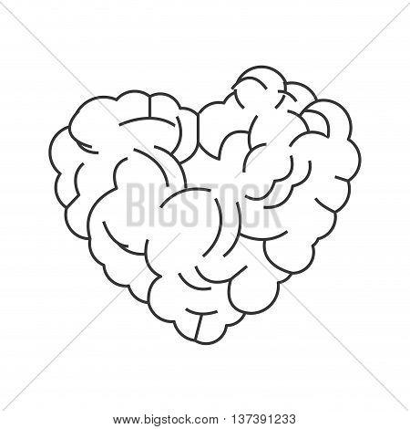 simple flat design heart shaped brain icon vector illustration
