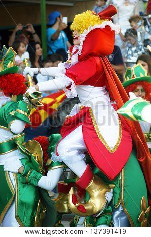 Montenegro, Herceg Novi - 04/06/2016: Dance of the clowns of Macedonia. 10 International Children's Carnival