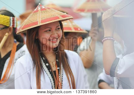 SIPITANG SABAH MALAYSIA - August 30 2014 : Lundayeh lady in their traditional costume during folklore festival call GaTa festival in Sipitang Sabah Malaysia. Lundayeh tribe is one of Sabah ethnic mostly reside in the interior.