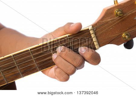 focus front finger catch Guitar strings. (Practicing Chord Am )