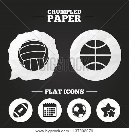 Crumpled paper speech bubble. Sport balls icons. Volleyball, Basketball, Soccer and American football signs. Team sport games. Paper button. Vector