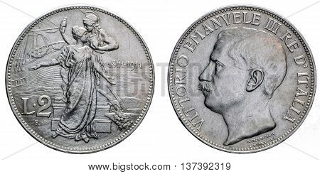 Two Lire Silver Coin 1911 fiftieth anniversary Vittorio Emanuele III Kingdom of Italy isolated on white, Mint of rome