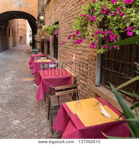 Old Pub In A Tiny Alley In The City Center Of Ferrara Italy