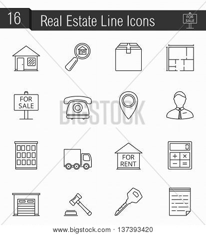 16 Real estate line icons, vector eps10 illustration