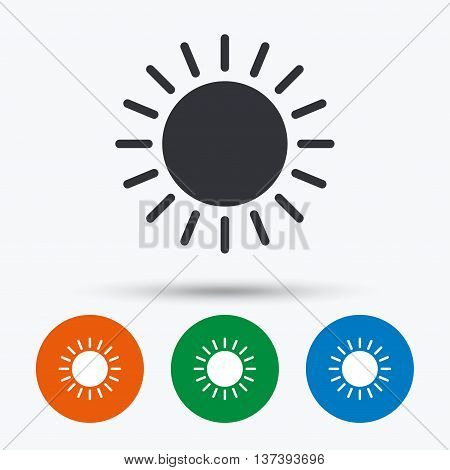 Sun icon. Sunlight summer symbol. Hot weather sign. Round circle buttons with icon. Vector