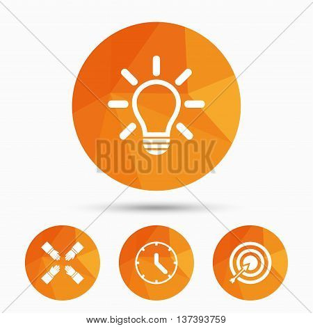 Lamp idea and clock time icons. Target aim sign. Darts board with arrow. Teamwork symbol. Triangular low poly buttons with shadow. Vector