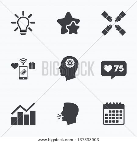 Lamp idea and head with gear icons. Graph chart diagram sign. Teamwork symbol. Flat talking head, calendar icons. Stars, like counter icons. Vector