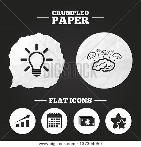 Crumpled paper speech bubble. Chart with arrow, brainstorm icons. Cash money and lamp idea signs. Scheme and Diagram symbol. Paper button. Vector