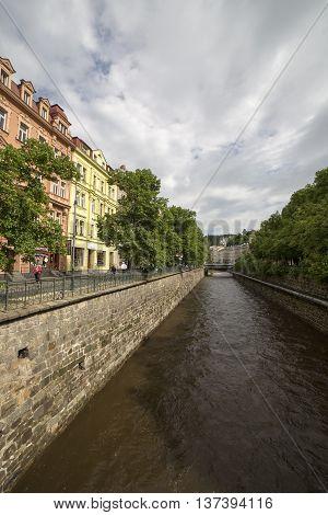 KARLOVY VARY, CZECH REPUBLIK - JUNE 4, 2013:Embankment of the river Tepla
