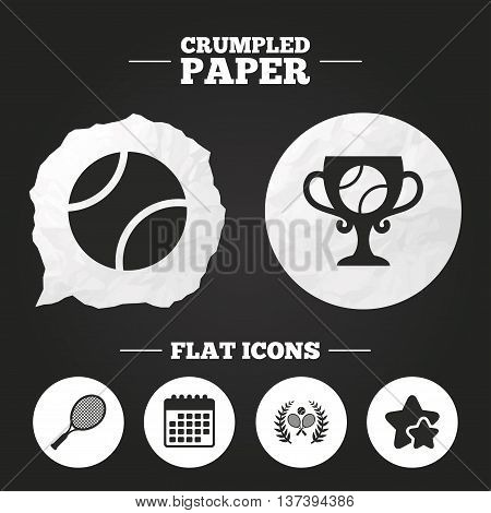 Crumpled paper speech bubble. Tennis ball and rackets icons. Winner cup sign. Sport laurel wreath winner award symbol. Paper button. Vector