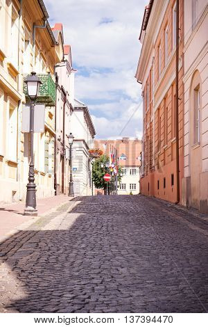 Konin, Poland - June 18, 2016: Old City Street In Polish Town Konin
