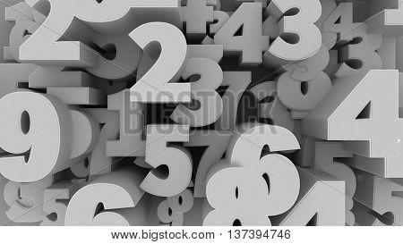 3d illustration of Abstract Numbers Background. Numbers Concept.