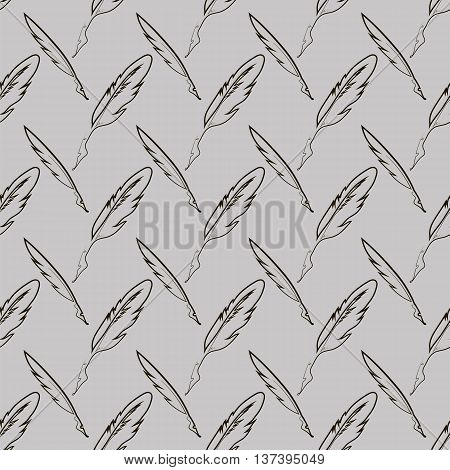 Set of Different Feathers Isolated on Grey Background. Seamless Feather Pattern