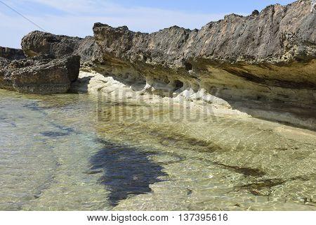 Tidal Lagoon & Eroded Rocks Cape Drepano Agios Georgios Cyprus