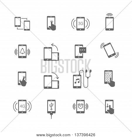 phone functions and phone technology flat icons