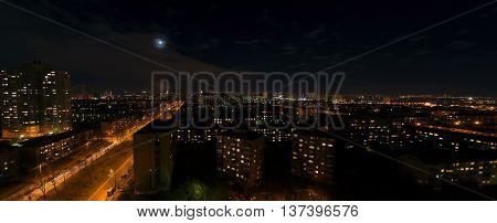Cityscape of Kiev in the nigth in autumn. Left bank