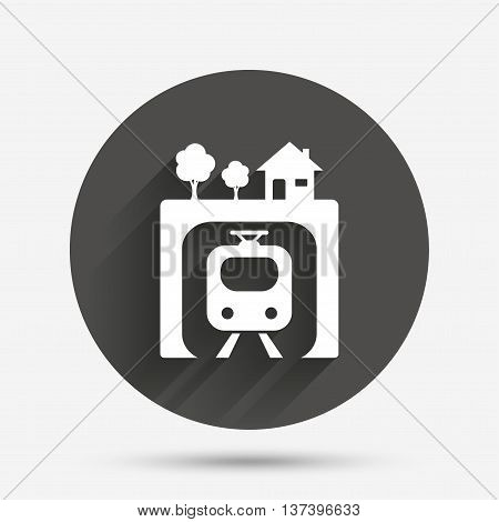 Underground sign icon. Metro train symbol. Circle flat button with shadow. Vector