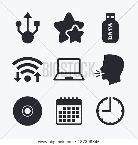 Usb flash drive icons. Notebook or Laptop pc symbols. CD or DVD sign. Compact disc. Wifi internet, favorite stars, calendar and clock. Talking head. Vector