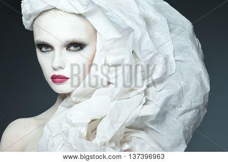 beautiful girl fashion studio portrait on high key style