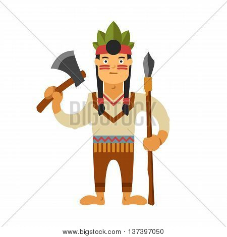 Illustration Of Indian With Weapons