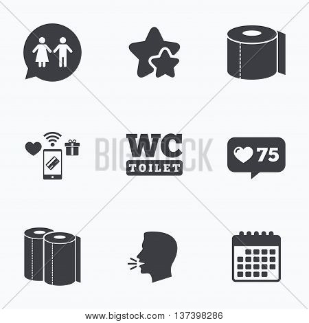 Toilet paper icons. Gents and ladies room signs. Paper towel or kitchen roll. Man and woman symbols. Flat talking head, calendar icons. Stars, like counter icons. Vector