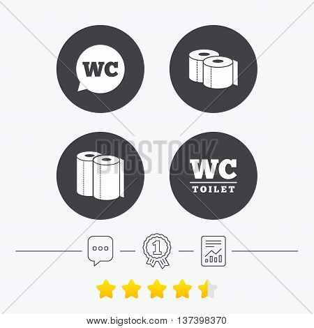 Toilet paper icons. Gents and ladies room signs. Paper towel or kitchen roll. Speech bubble symbol. Chat, award medal and report linear icons. Star vote ranking. Vector