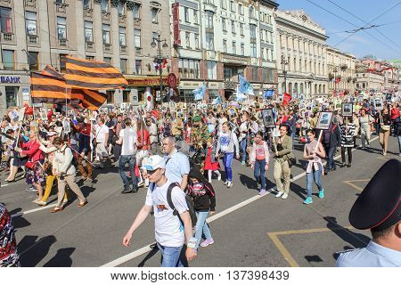 St. Petersburg, Russia - 9 May, People with portraits and flags of St. George, 9 May, 2016. Memory Action