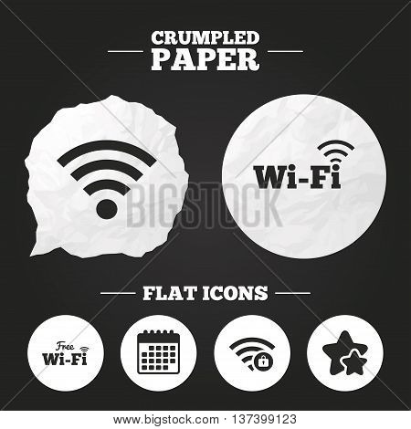 Crumpled paper speech bubble. Free Wifi Wireless Network icons. Wi-fi zone locked symbols. Password protected Wi-fi sign. Paper button. Vector