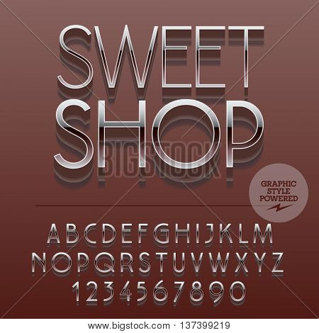 Set of slim reflective alphabet letters, numbers and punctuation symbols. Vector glossy emblem with text Chic shop. File contains graphic styles