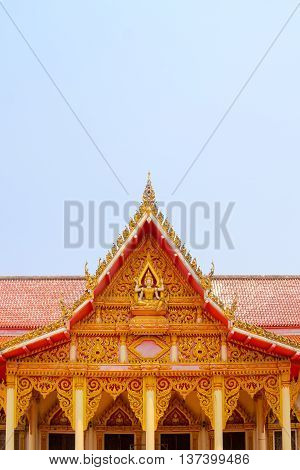 church roof thai background.Top part of Thai style architecture