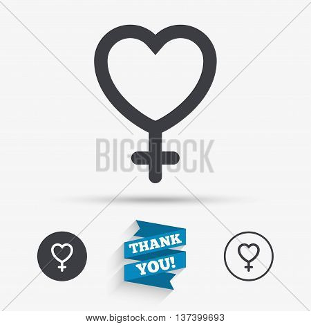 Female sign icon. Woman sex heart button. Flat icons. Buttons with icons. Thank you ribbon. Vector