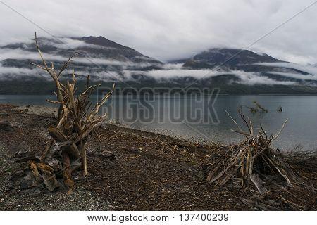 Low cloud Lakeside at Lake Wanaka, New Zealand