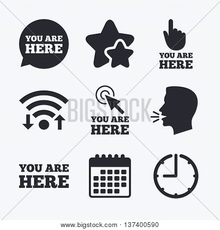 You are here icons. Info speech bubble symbol. Map pointer with your location sign. Hand cursor. Wifi internet, favorite stars, calendar and clock. Talking head. Vector