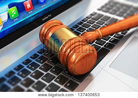 3D render illustration of wooden gavel mallet or hammer on notebook or laptop computer PC keyboard with selective focus effect