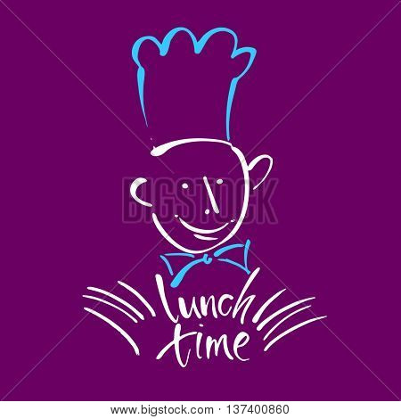 CHEF-COOK with handwritten lettering LUNCH TIME. Hand drawing chef-cook, handmade text lunch-time.Concept logo design for restaurant, cafe, chief-cooker, chef, lunch time.Vector Illustration.