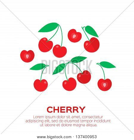 Cherry. Cherry berry with leaves. Collection of different fresh cherry berries on white background. Vector Illustration.