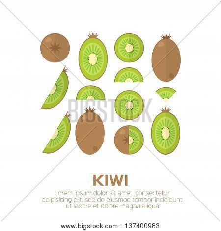 Summer set of Kiwi fruit. Whole and cut half healthy kiwi. Vector illustration