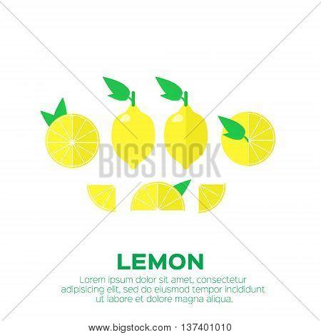 Summer set of lemon fruit with leaf. Whole and cut half healthy lemon. Vector illustration