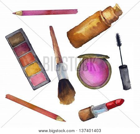 cosmetics for face on a white background